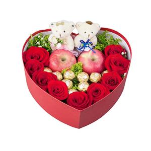 鲜花/平安夜的祝福: 9支红玫瑰、9个巧克力、2个苹果、2只小熊