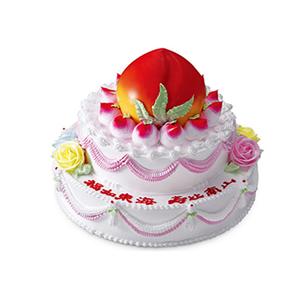 蛋糕/寿山福海: 三层鲜奶蛋糕,上层做成蟠桃。  [包 装]: