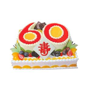 """蛋糕/贵寿无极: 方形水果双层蛋糕,上层数字""""60""""形蛋糕,双层"""