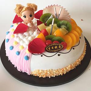 蛋糕/甜心芭比: 新鲜奶油搭配时令水果  [包 装]:高档礼盒