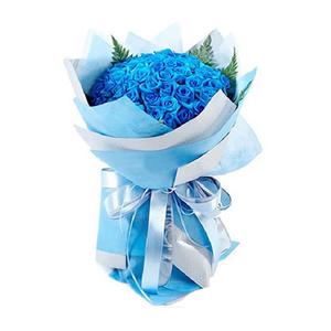 鲜花/爱在繁花盛开时: 99枝蓝色妖姬  [包 装]:蓝色、浅蓝色皱